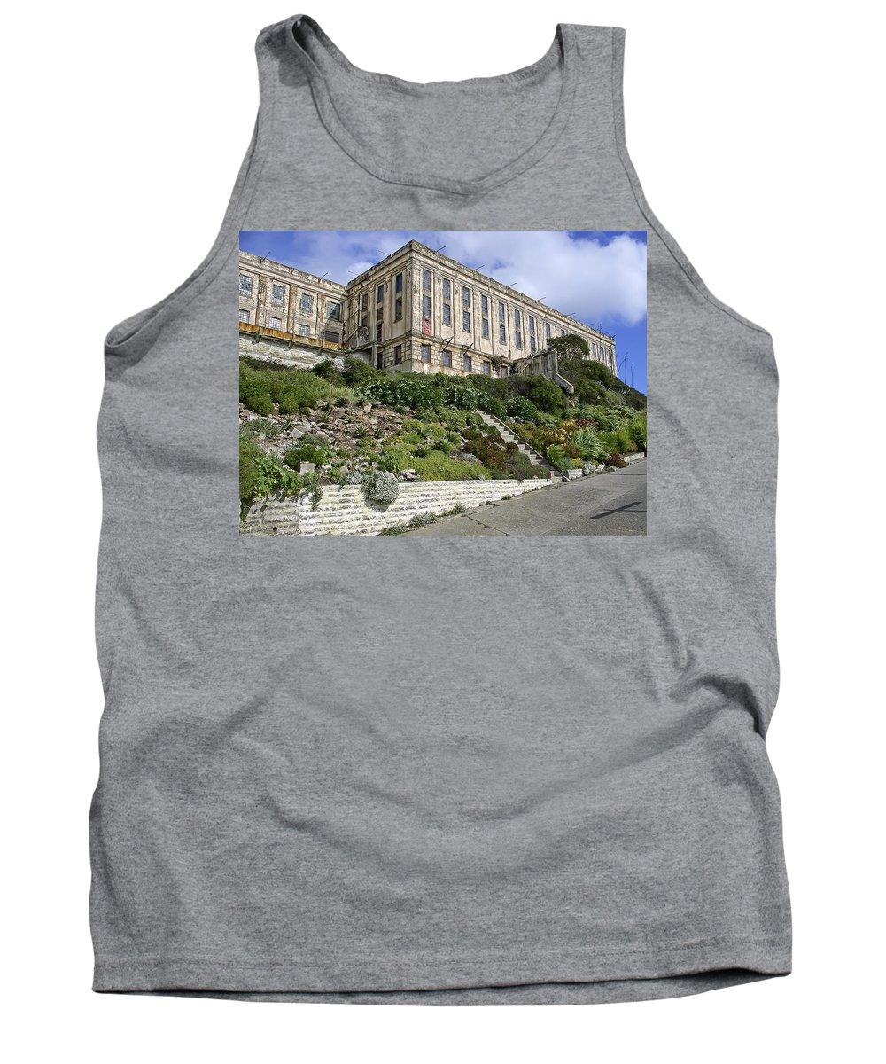 Alcatraz Tank Top featuring the photograph Alcatraz Cell House West Facade by Daniel Hagerman
