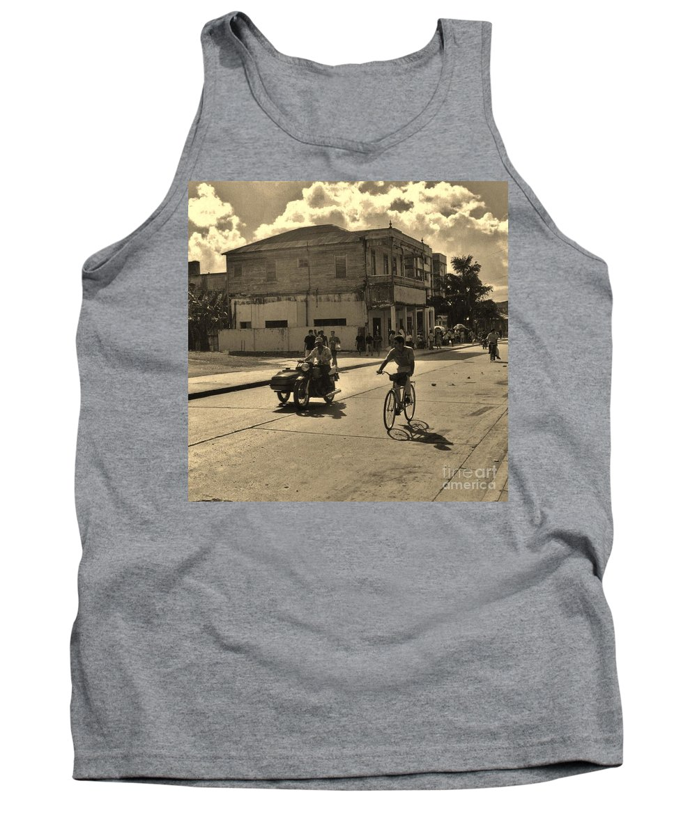 Old Town Tank Top featuring the photograph And The Bicycle Wins by John Malone