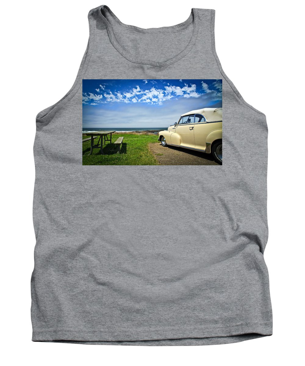 Hot Rod Tank Top featuring the photograph At The Beach by Steve McKinzie
