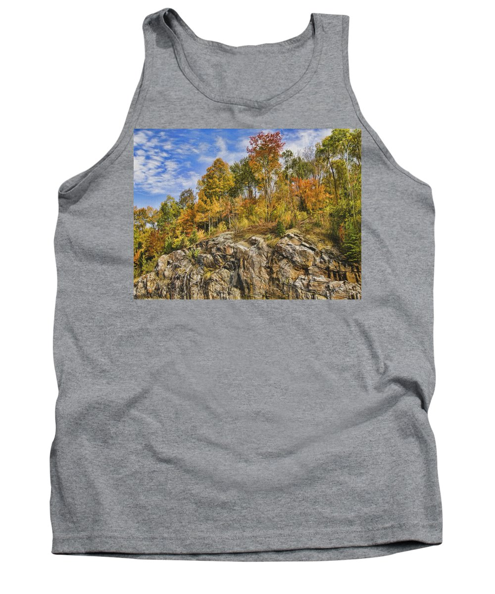 Sunny Tank Top featuring the digital art Autumn On The Rocks by Jo-Anne Gazo-McKim