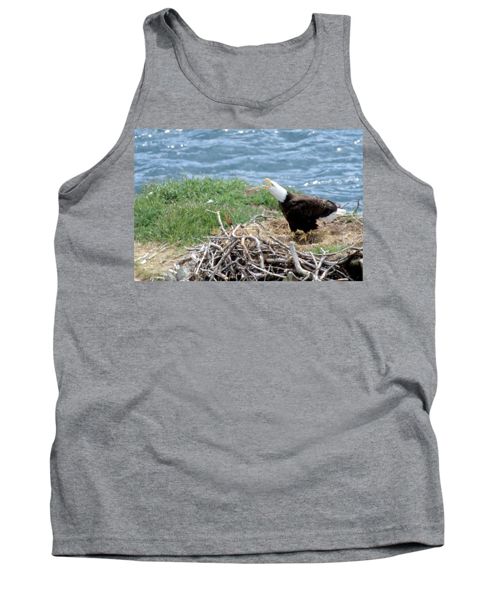 Bald Eagle Tank Top featuring the photograph Bald Eagle Calling by Larry Allan