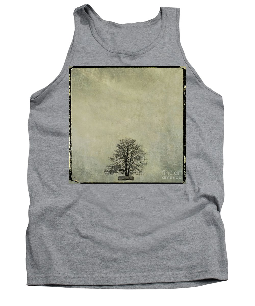 Yellowed Tank Top featuring the photograph Bare Tree. Vintage-look. Auvergne. France by Bernard Jaubert