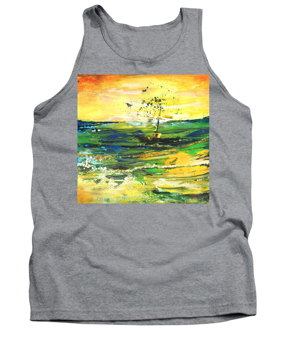 Impressions Tank Top featuring the painting Bathed In Golden Light by Miki De Goodaboom