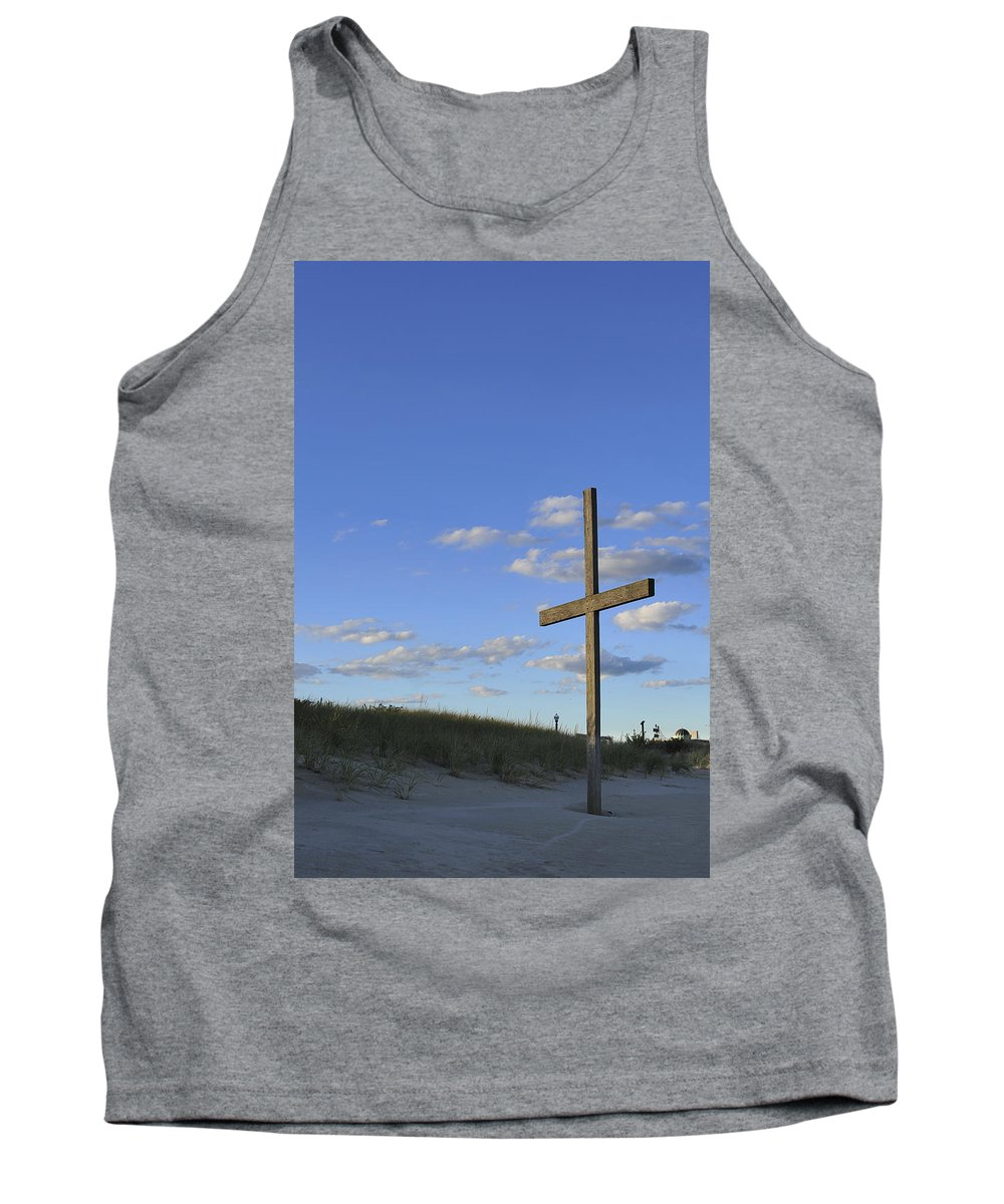 Ocean Grove Tank Top featuring the photograph Beach Cross by Terry DeLuco