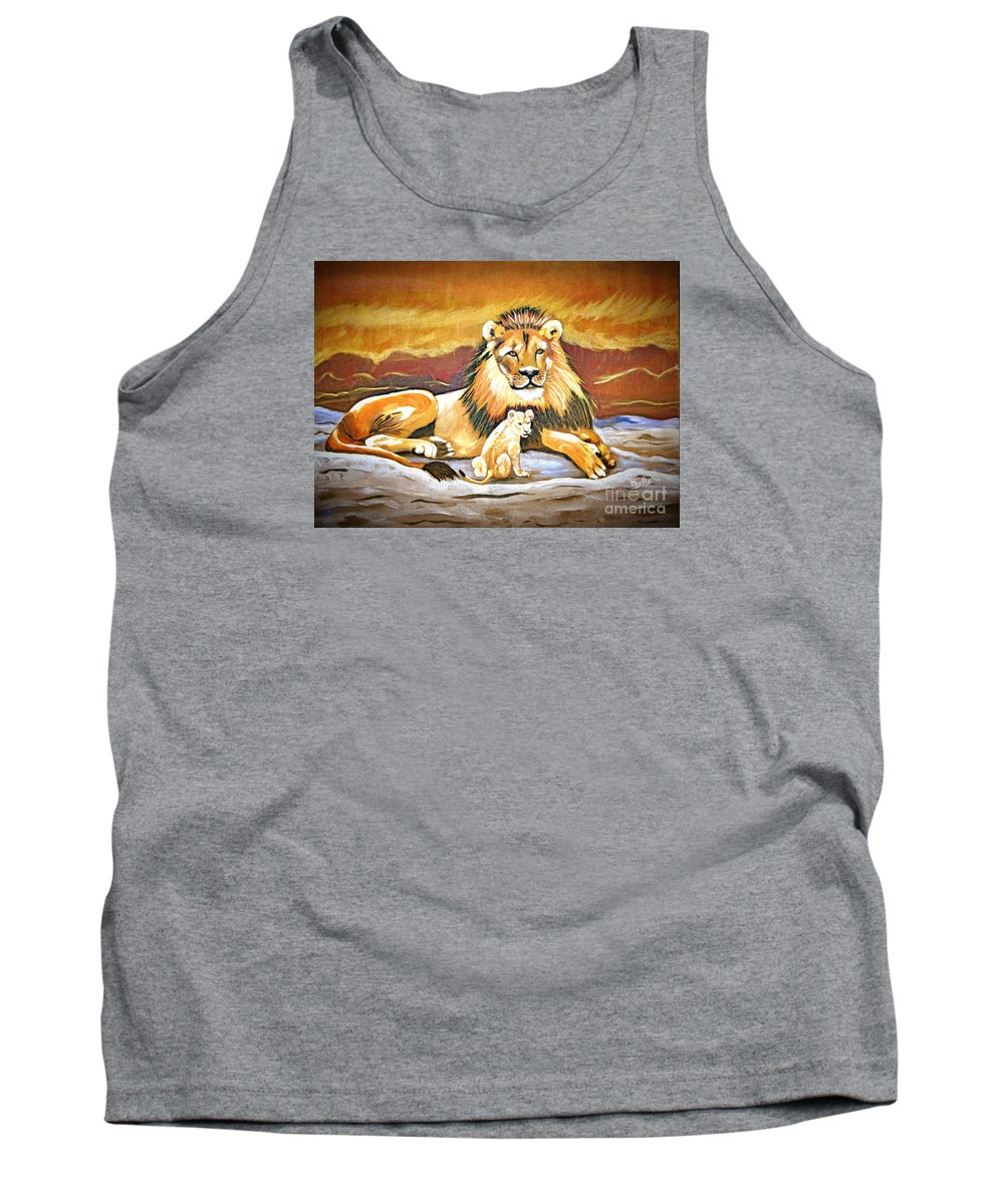 Black Maned Lion Tank Top featuring the painting Black Maned Lion And Cub by Phyllis Kaltenbach