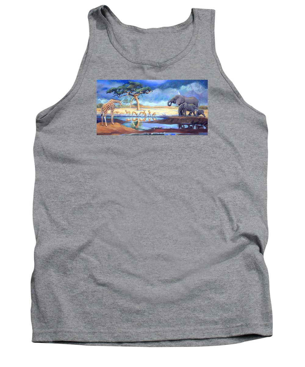Botswana Tank Top featuring the painting Botswana Watering Hole by Susan McNally