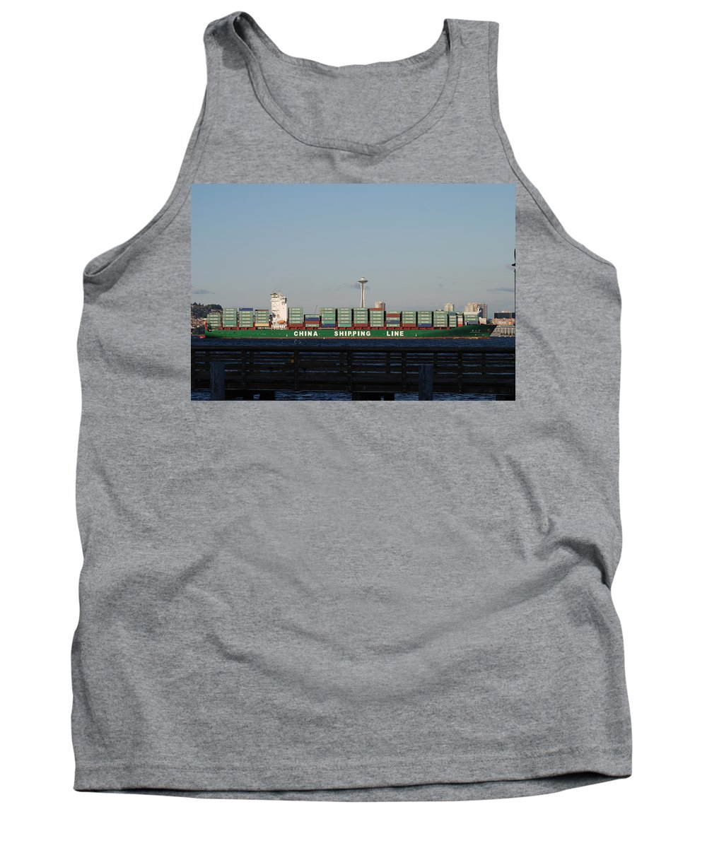 Cargo Tank Top featuring the photograph Cargo Ship In Seattle by Michael Merry