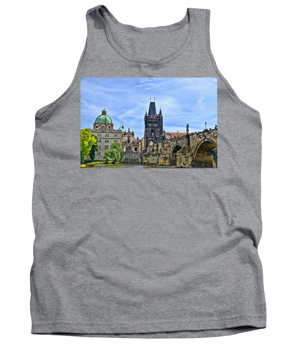 Prague Tank Top featuring the photograph Charles Bridge And Church Dome by Jon Berghoff
