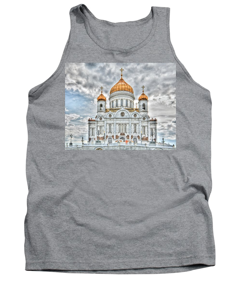 Hdr Tank Top featuring the photograph Christ The Saviour Cathedral In Moscow. The Main Entrance by Michael Goyberg