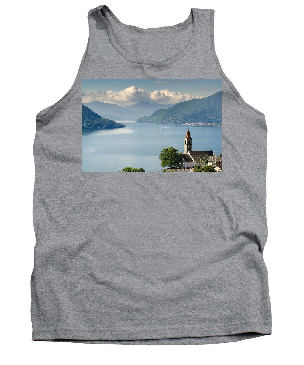 Church Tank Top featuring the photograph Church Close To An Alpine Lake by Mats Silvan