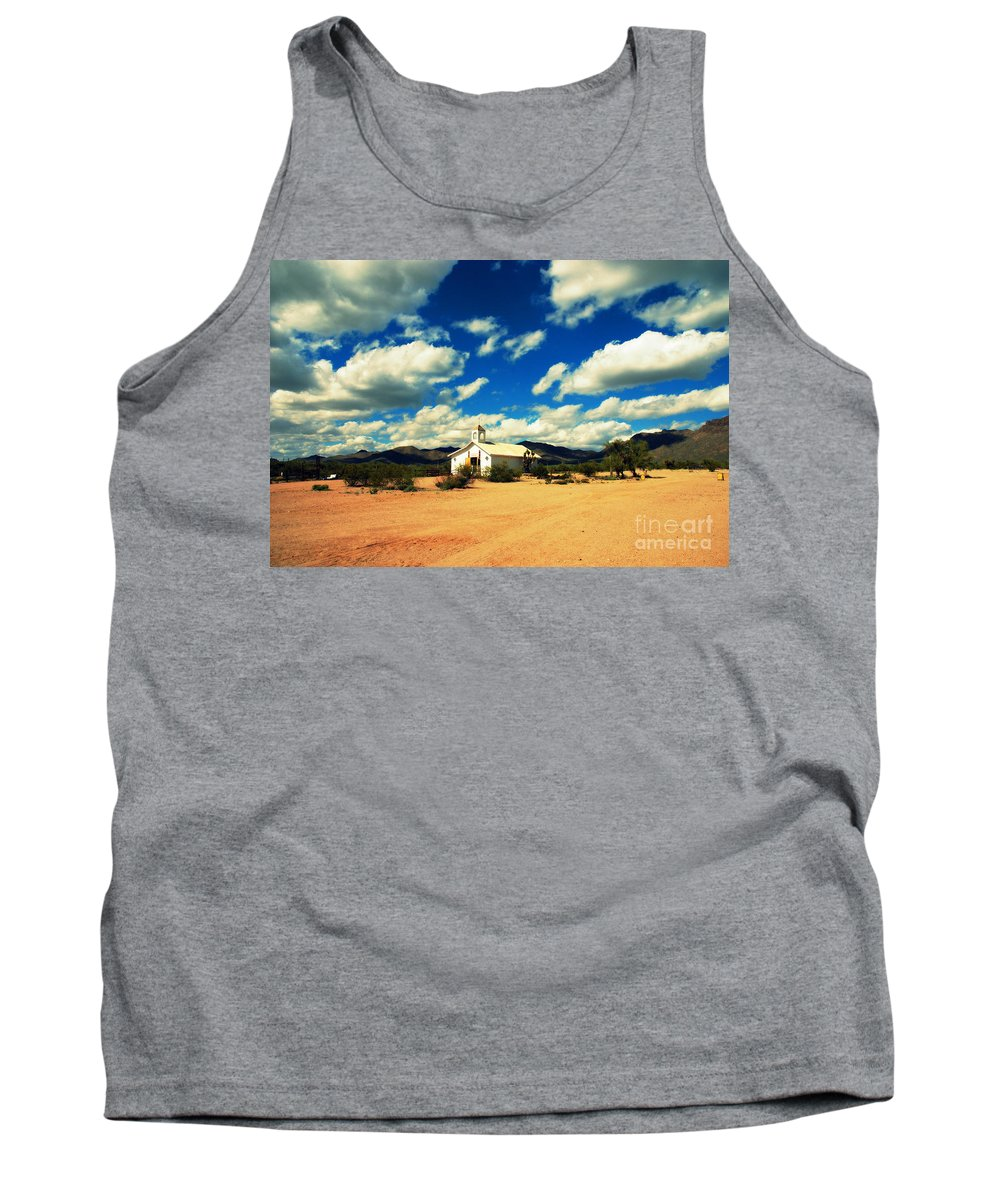 Old Tuscon Tank Top featuring the photograph Church In Old Tuscon Arizona by Susanne Van Hulst