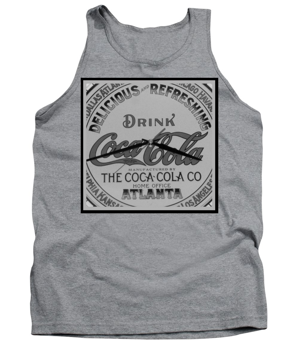 Cock Cola Tank Top featuring the photograph Coca Cola Clock In Black And White by Rob Hans