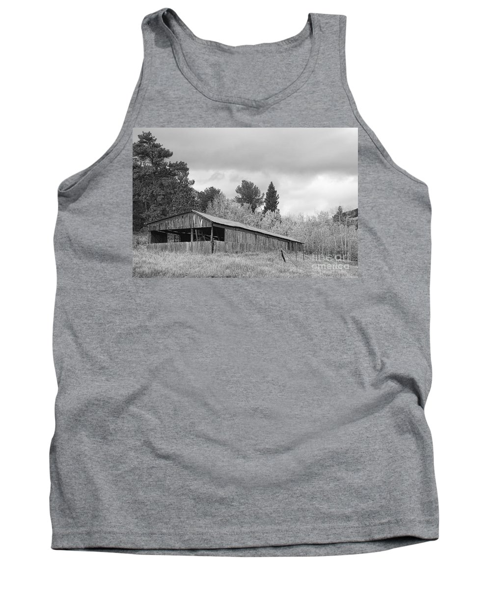 Barn Tank Top featuring the photograph Colorado Rustic Autumn High Country Barn Bw by James BO Insogna