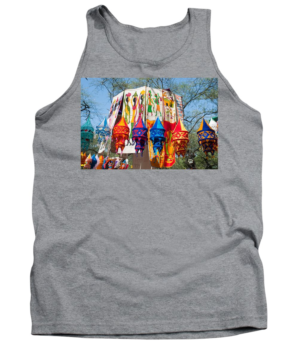 Banner Tank Top featuring the photograph Colorful Banners At Surajkund Mela by Ashish Agarwal