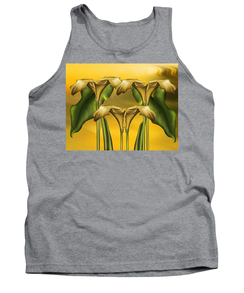 Abstract Realism Tank Top featuring the digital art Dance Of The Yellow Calla Lilies by Georgiana Romanovna