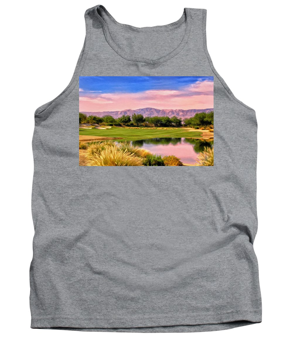 Dawn Tank Top featuring the painting Dawn On The Golf Course by Dominic Piperata