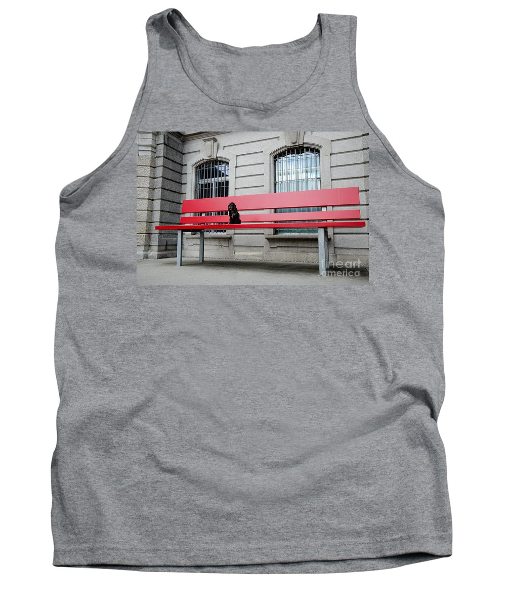 Dog Tank Top featuring the photograph Dog On A Big Red Bench by Mats Silvan