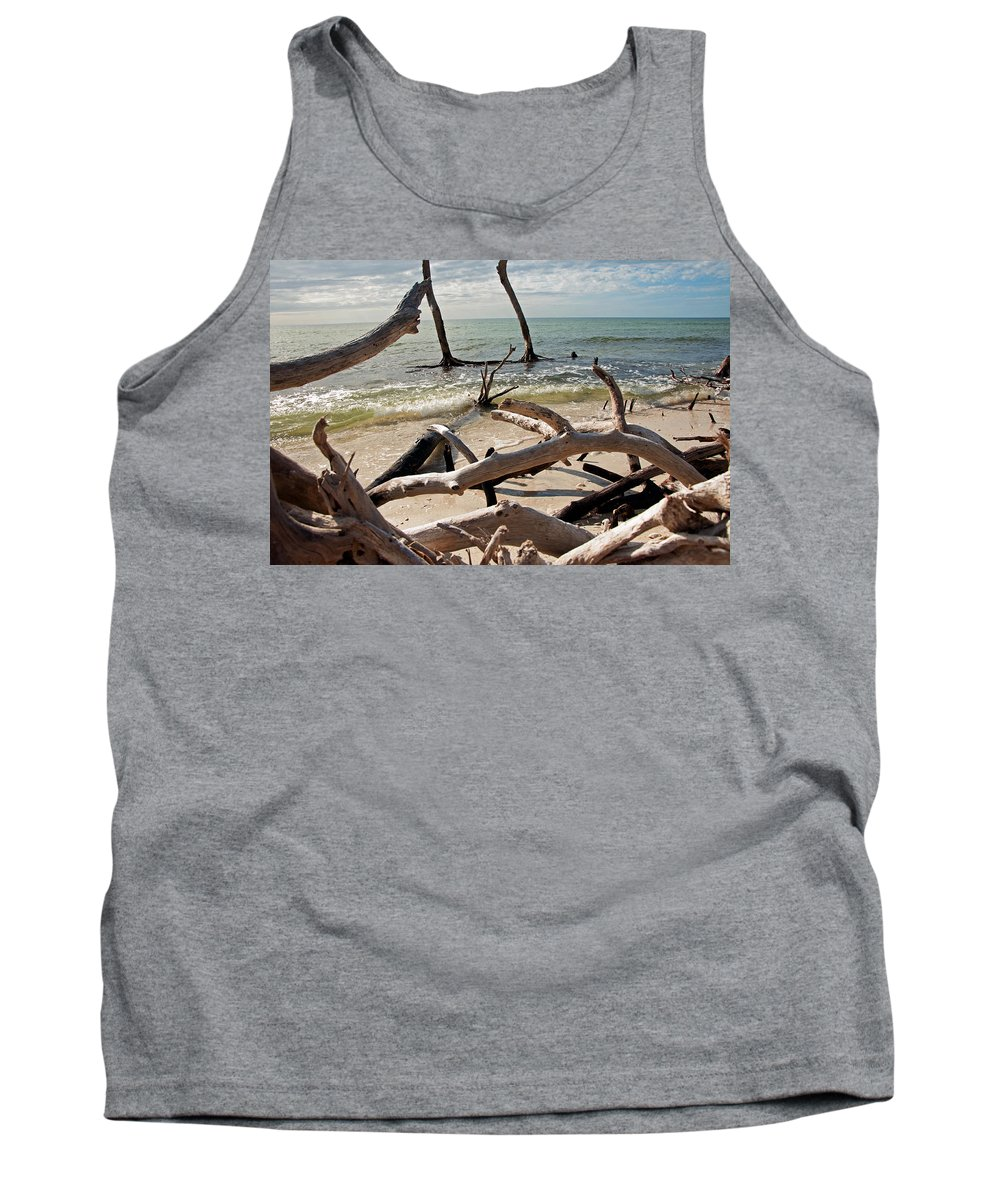 Driftwood Tank Top featuring the photograph Driftwood Jungle I by Christine Stonebridge