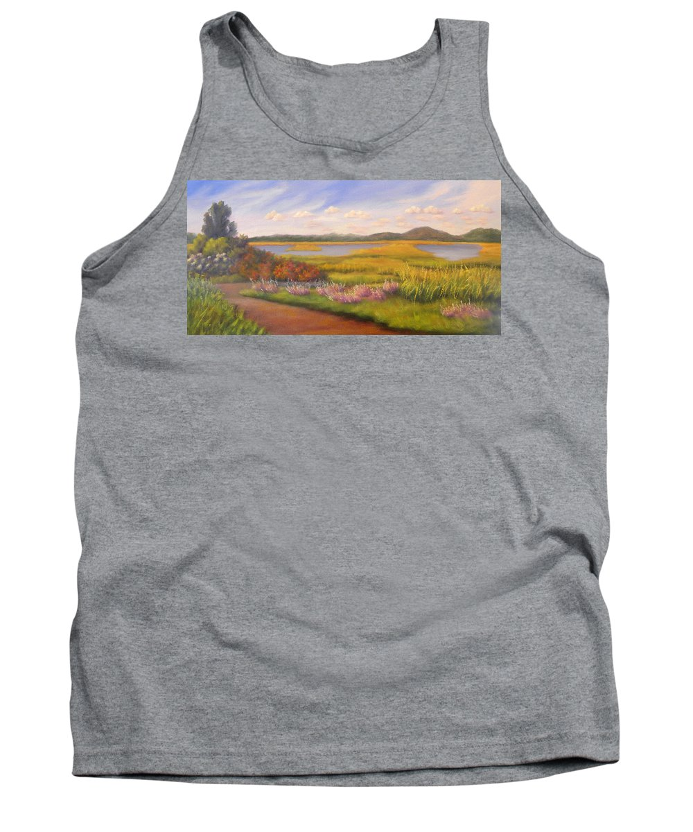 Marsh Tank Top featuring the painting Early Fall Plum Island by Sharon E Allen