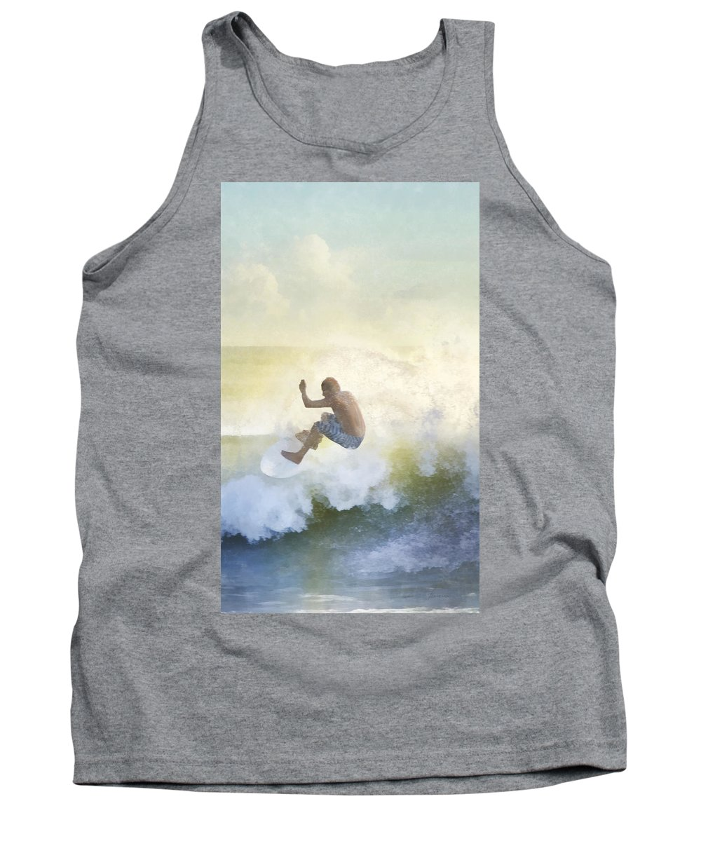 Sea Tank Top featuring the digital art Early Surfer by Francesa Miller