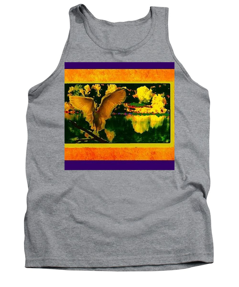 Birds Tank Top featuring the mixed media Egret In The Glory by Paul Lee
