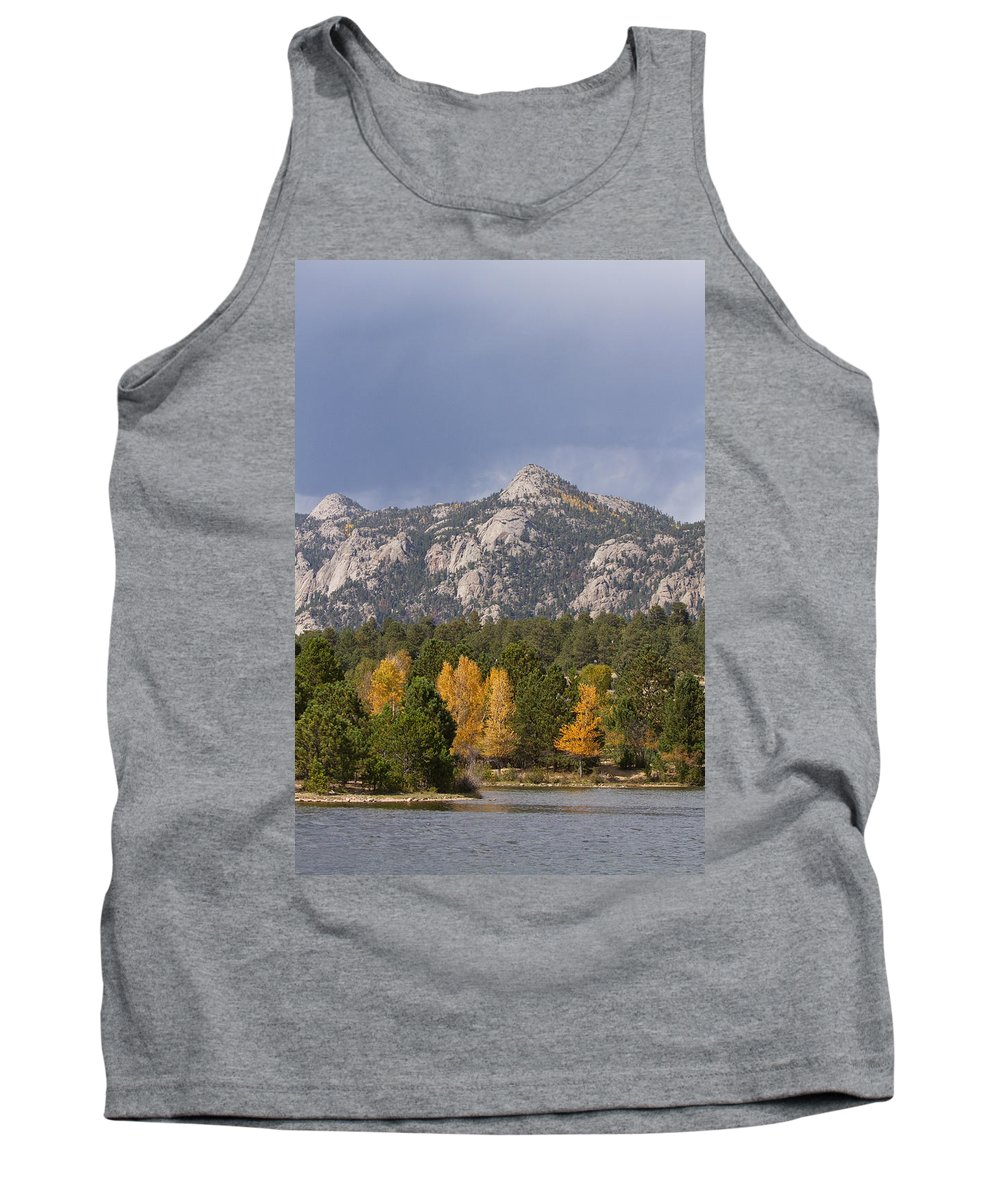 Autumn Tank Top featuring the photograph Estes Park Autumn Lake View Vertical by James BO Insogna