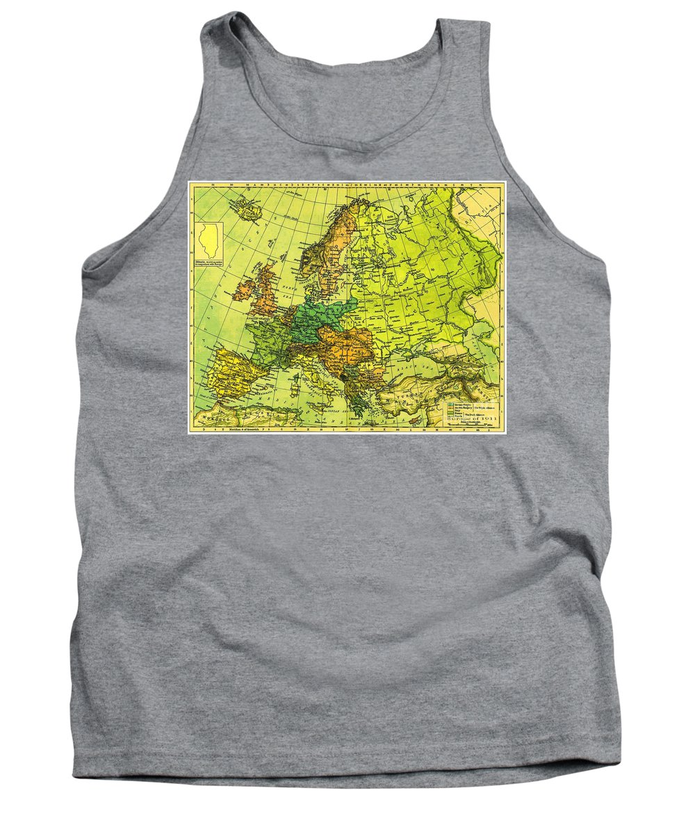 German Empire Tank Top featuring the photograph Europe Map Of 1911 by George Pedro