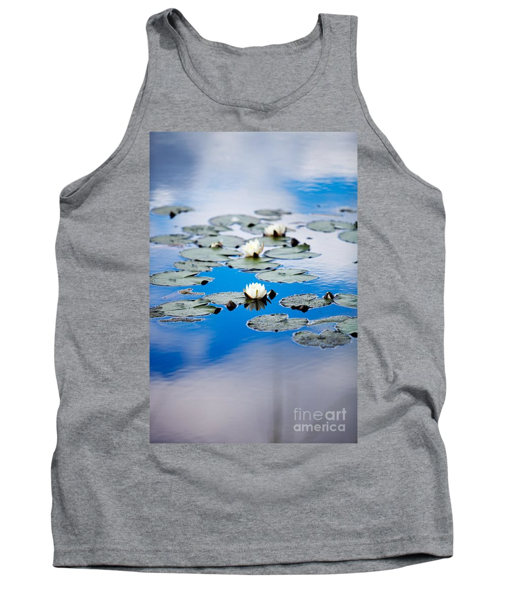 Background Tank Top featuring the photograph European White Waterlily by Kati Finell