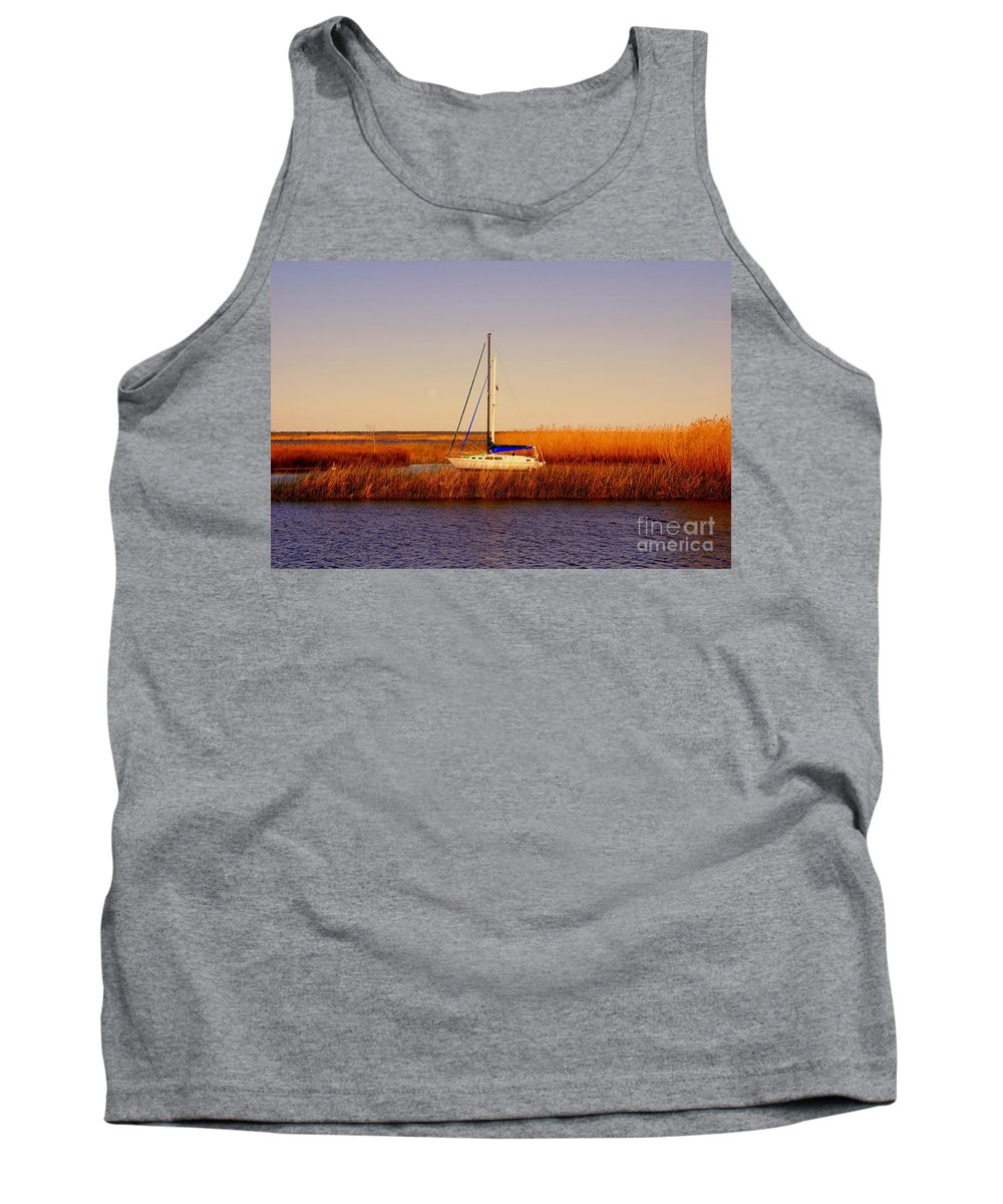 Boat Tank Top featuring the photograph Evening Peace by Susanne Van Hulst
