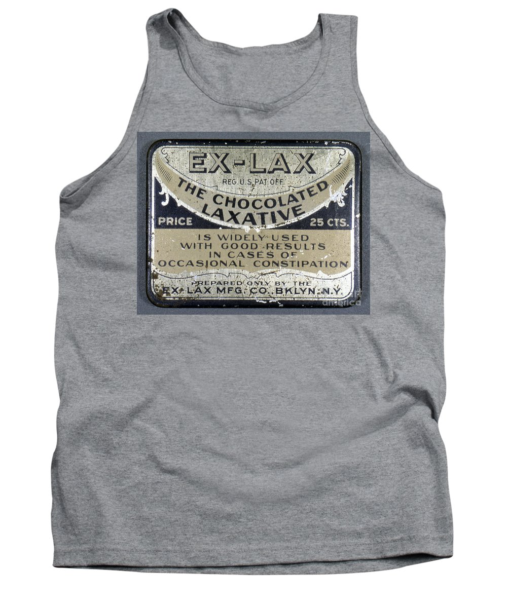 1920 Tank Top featuring the photograph Ex-lax Container by Granger