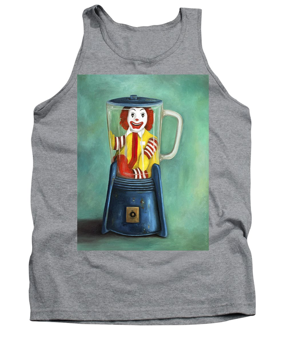 Mcdonald's Tank Top featuring the painting Fast Food Nightmare 2 The Happy Meal by Leah Saulnier The Painting Maniac