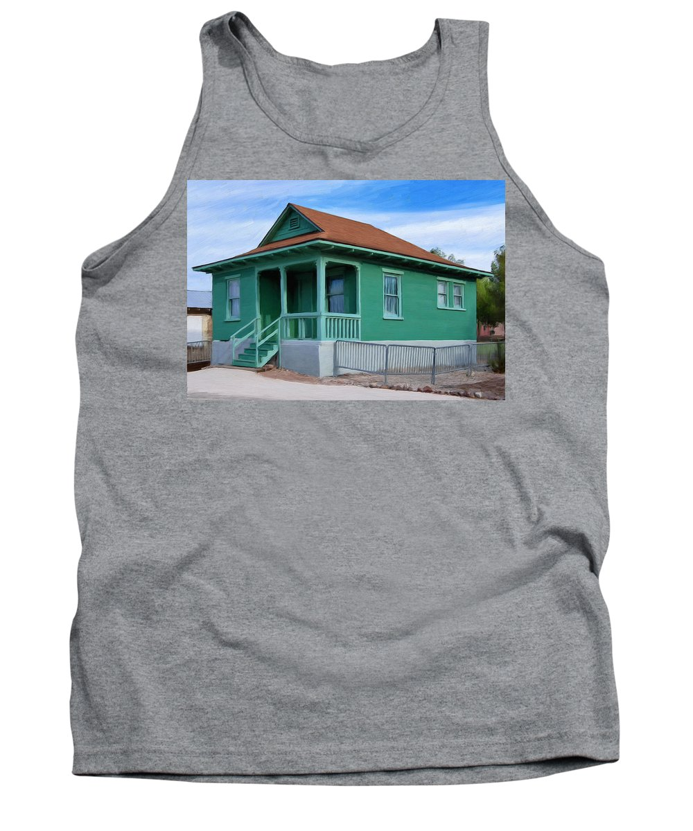 Old House Tank Top featuring the painting Fenced Yard by Dominic Piperata