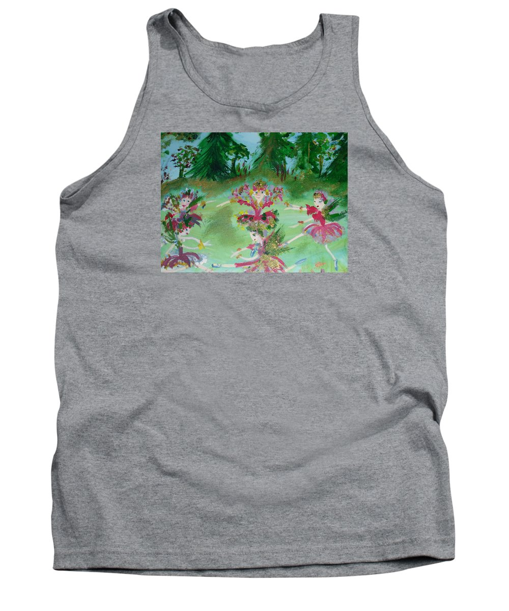 Fairies Tank Top featuring the painting Festive Fairies by Judith Desrosiers