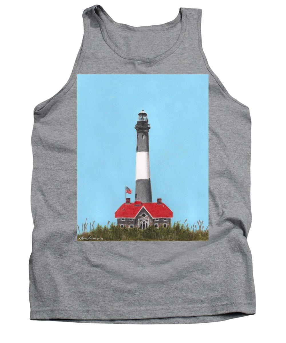 Bruce Lennon Lighthouse Beach Art Illustration Painting Summer Long Island New York Tank Top featuring the painting Fire Island Lighthouse by Bruce Lennon