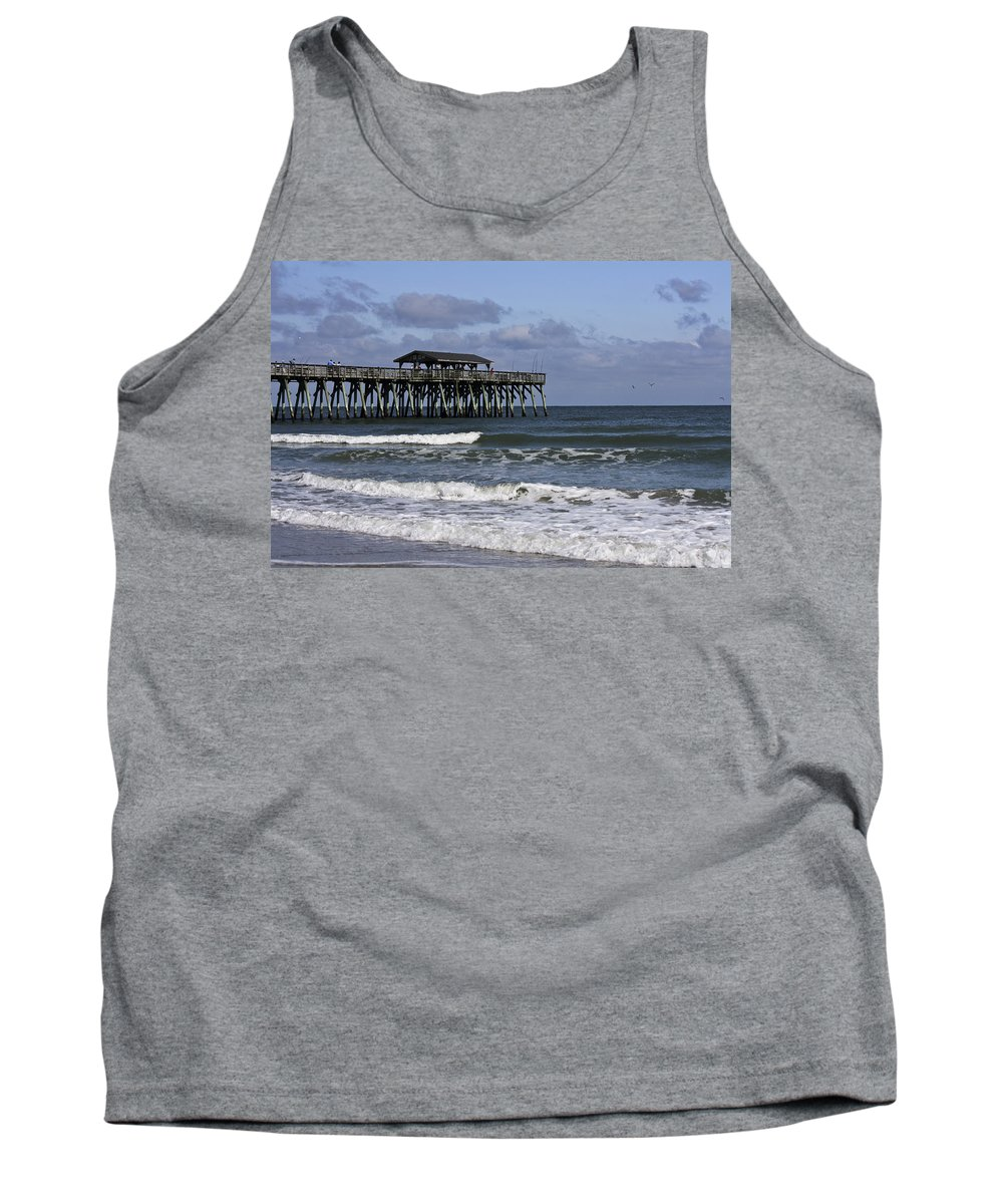 Sunlight Tank Top featuring the photograph Fishing On The Pier by Teresa Mucha