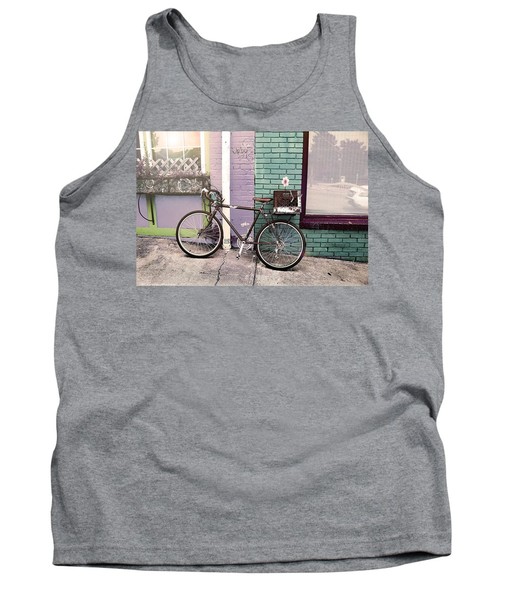 Street Photography Tank Top featuring the photograph Flower For Later Urban Art by Gray Artus