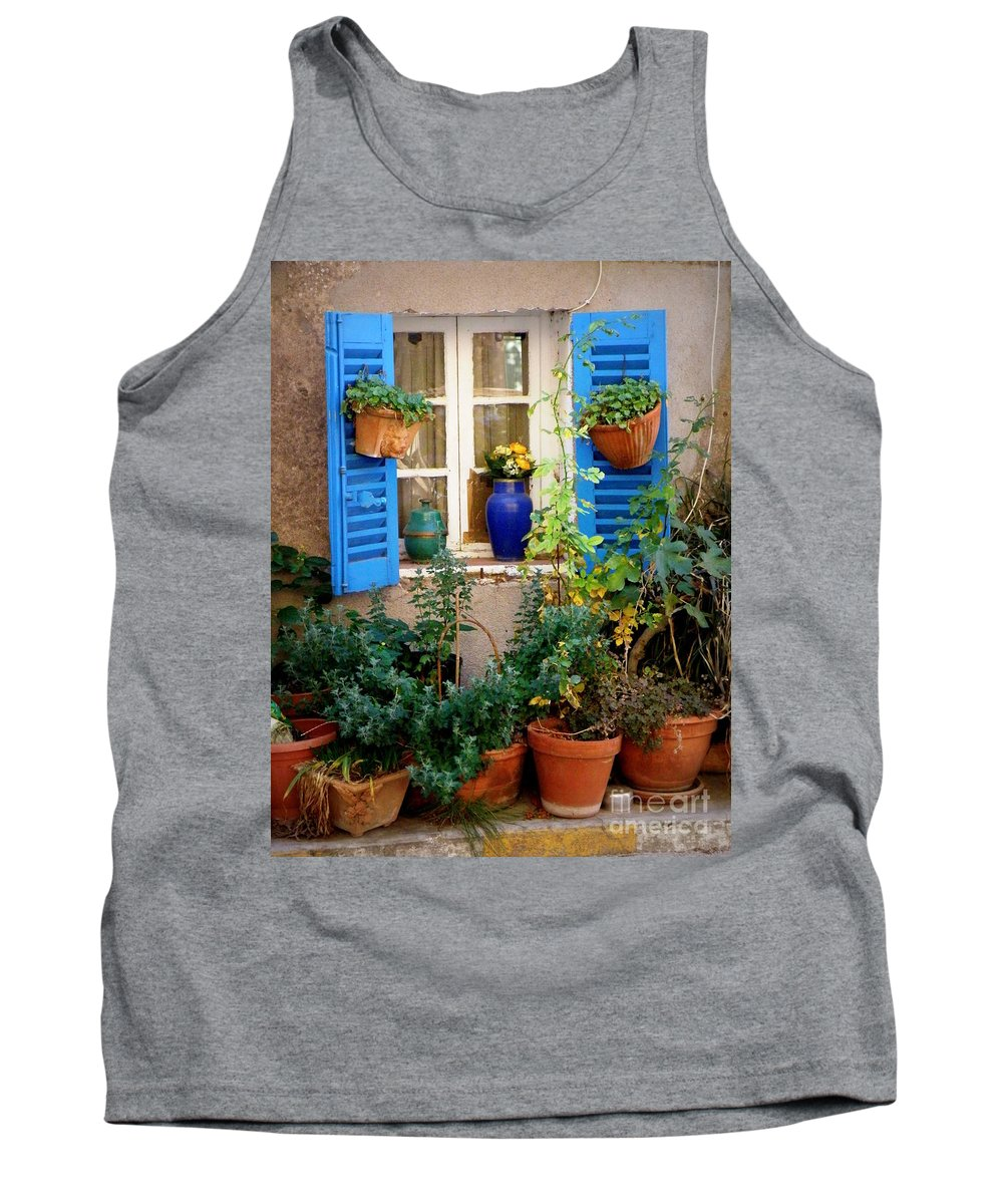 Window Tank Top featuring the photograph Flower Pots Galore by Lainie Wrightson