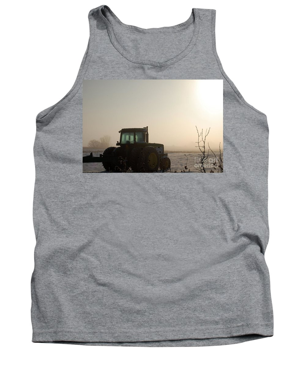 Tractor Tank Top featuring the photograph Foggy Morn by Anjanette Douglas