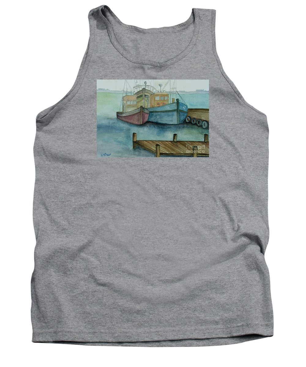 Fishing Boats Tank Top featuring the painting Frozen In Time by Caroline Street