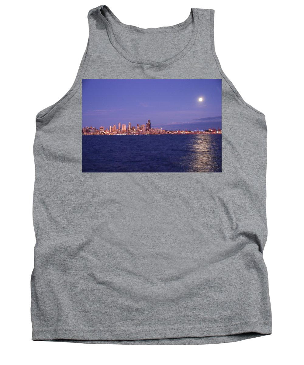 Moon Tank Top featuring the photograph Full Moon Over Seattle by Michael Merry