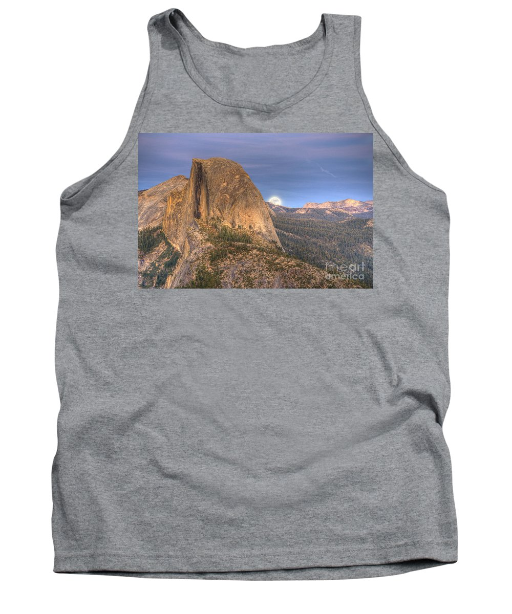 Half Dome Tank Top featuring the photograph Full Moon Rise Behind Half Dome 2 by Jim And Emily Bush