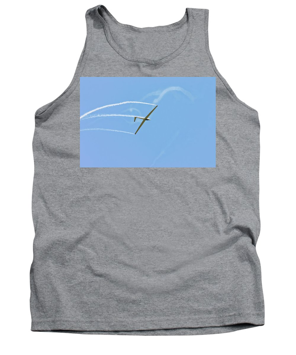 Plane Tank Top featuring the photograph Glider Flying Aerobatics At Airshow Phot Canvas Poster Print by Keith Webber Jr