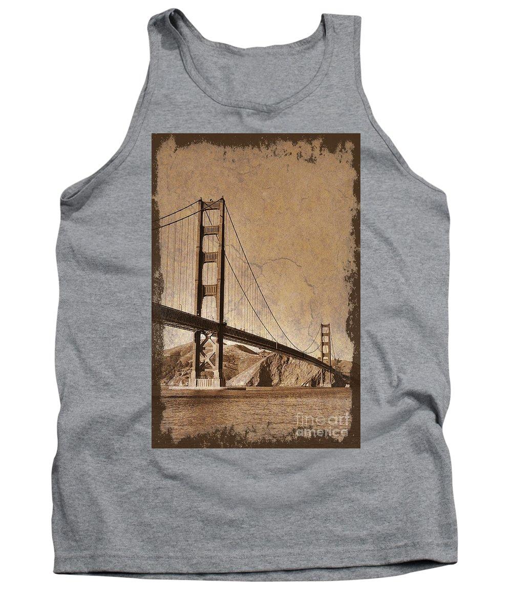 Golden Gate Bridge Tank Top featuring the photograph Golden Gate Bridge Sepia by Jim And Emily Bush