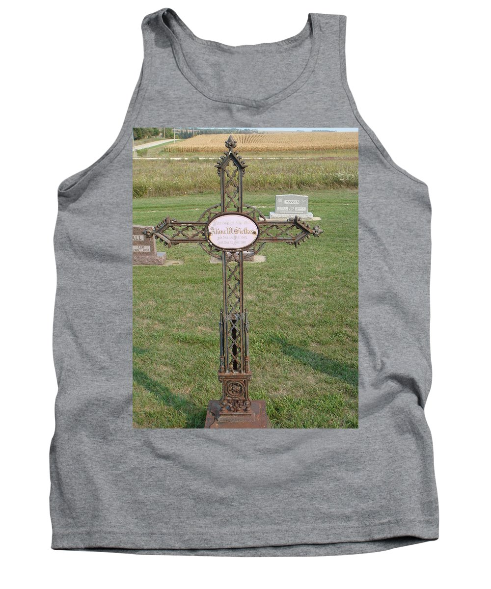 Gothic Tank Top featuring the photograph Gothic Grave Marker by Bonfire Photography