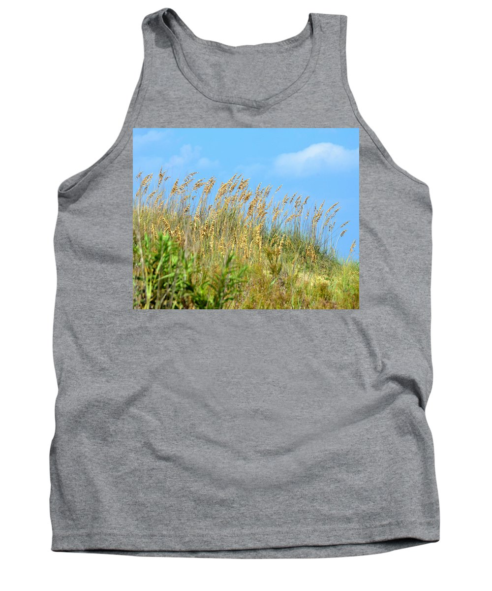 Sunshine Tank Top featuring the photograph Grass Waving In The Breeze by Tom Leach