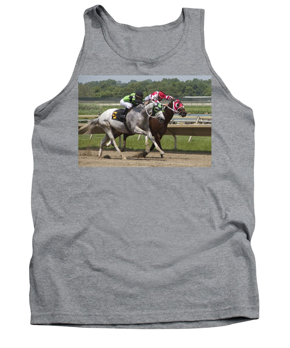 Horses Jockeys Racetrack Racers Tank Top featuring the photograph Gray Vs Bay by Alice Gipson