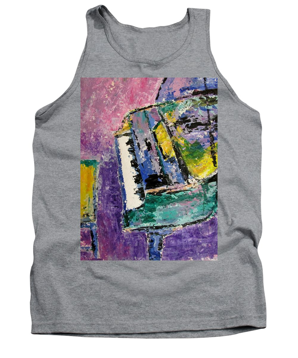 Music Tank Top featuring the painting Green Piano Side View by Anita Burgermeister