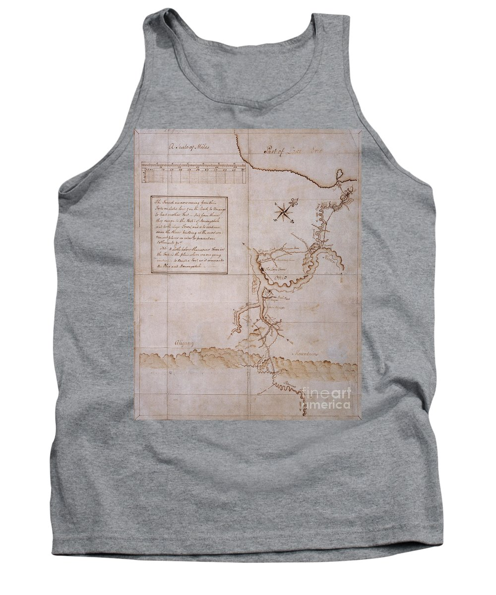 Manuscript Tank Top featuring the photograph Hand Drawn Map By G. Washington by Photo Researchers