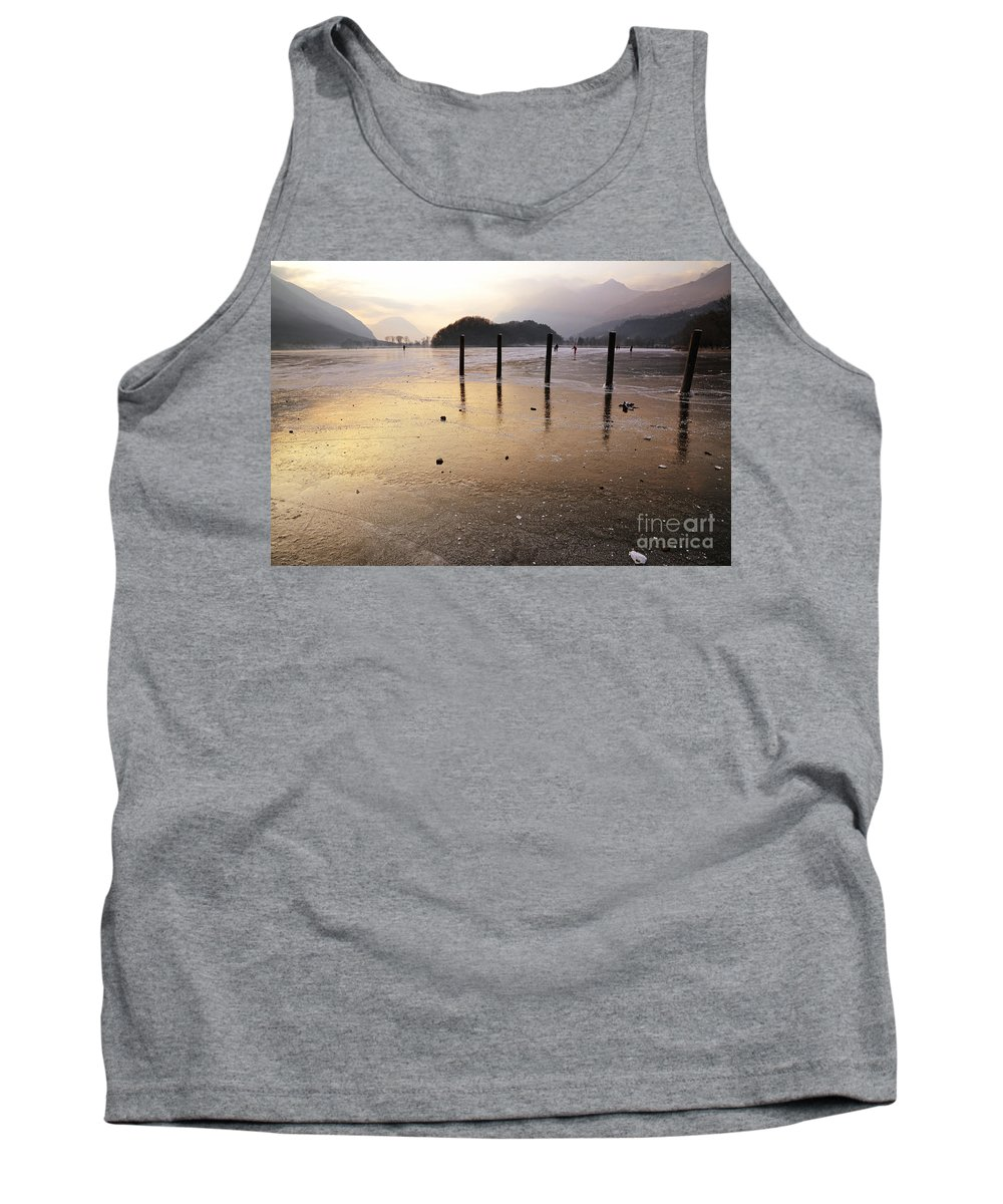 Frost Tank Top featuring the photograph Ice On A Lake In Sunset by Mats Silvan