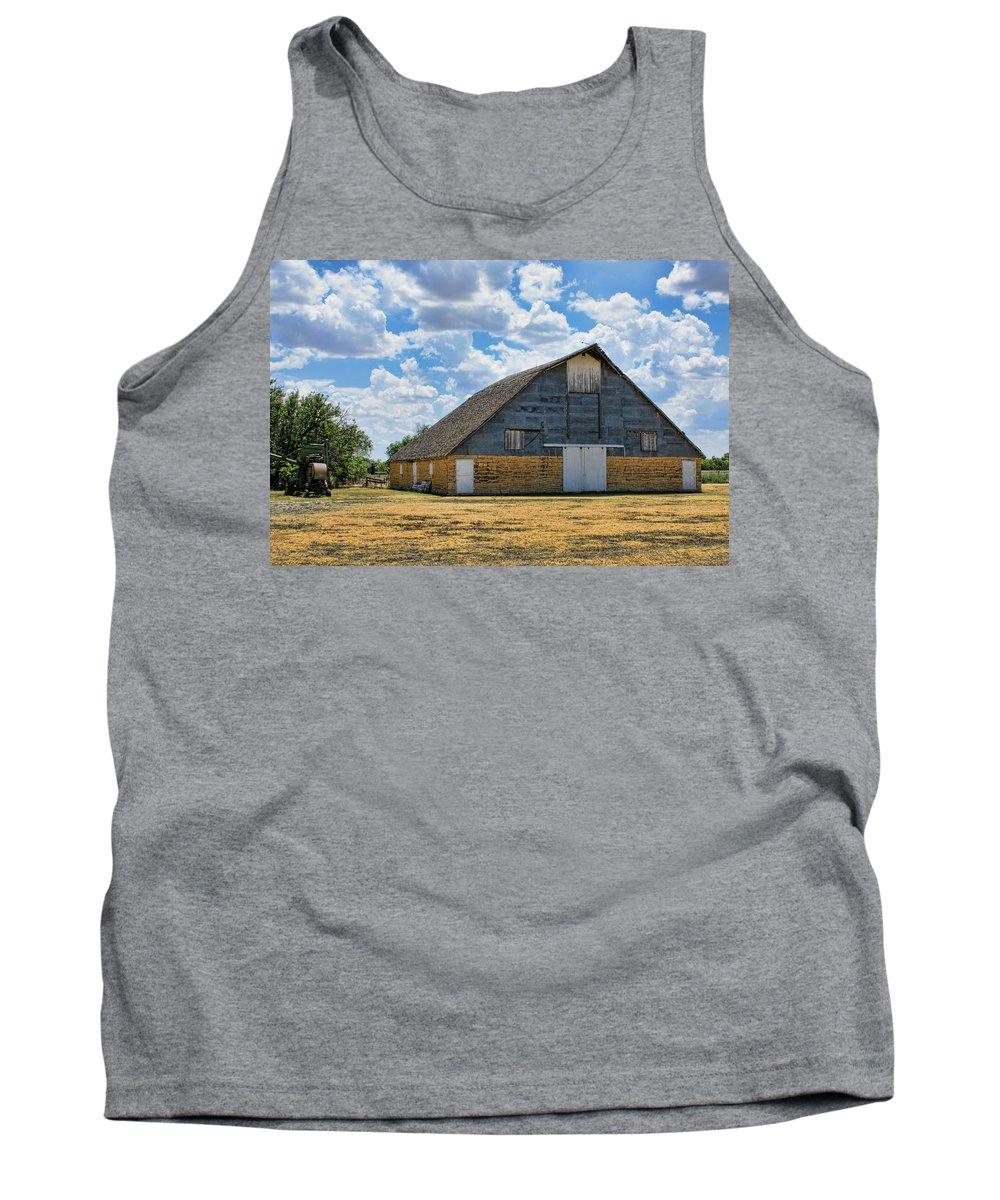 Kansas Tank Top featuring the photograph Kansas Stone Barn by Alan Hutchins